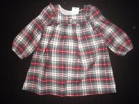 Baby Gap 3-6 Months Floral Flannel Plaid Dress
