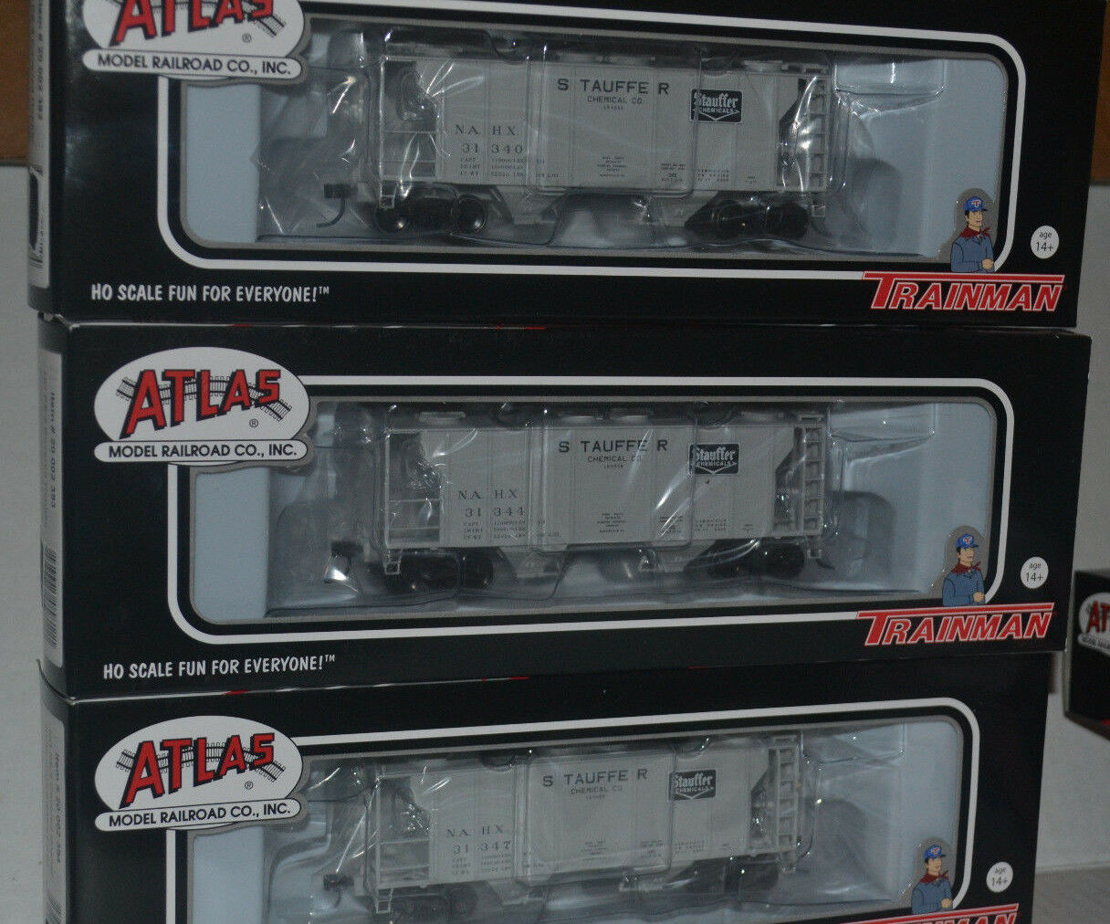 3 Atlas Stauffer Chemical NAHX PS-2 Coverosso Hoppers Ho Scale