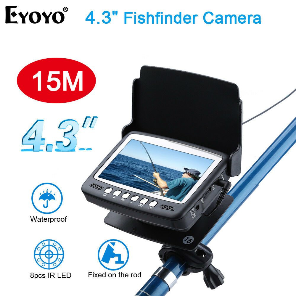 EYOYO 15M 1000TVL Fishfinder 4.3  Fishing Camera Fixed on the Rod with Sunshield