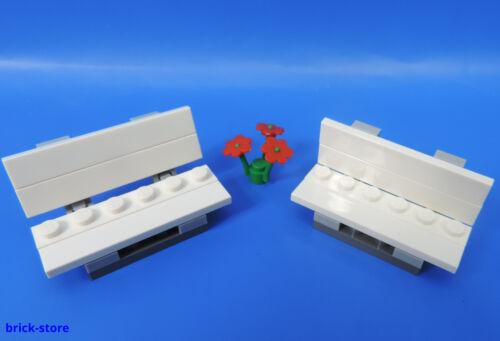 Eisenbahn Park Garten  Bank LEGO®  City 2 Bänke weiß mit Rote Blume