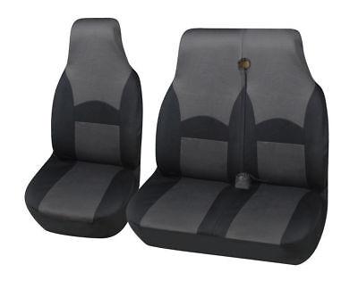 DELUXE GREY//BLACK VAN SEAT COVERS SINGLE DOUBLE 2+1 VAUXHALL VIVARO 2007