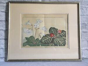 Japanese Signed Botanical Watercolor - FREE SHIPPING!!!