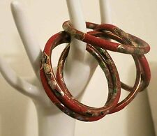 5 RARE IN OUT VINTGE CHINESE CARVED CINNABAR LACQUER CLOISONNE BANGLE BRACELETS
