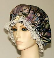 Hair Bonnet Abstract Marble Print Satin W/ Lace Or Night Sleep Cap - Adult Size
