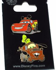 LE Disney 2 Pin Set✿Car Race Lightning McQueen Tow Mater Truck Mickey Ears Hat