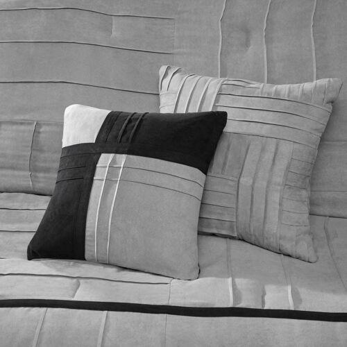 BEAUTIFUL ULTRA SOFT MODERN GREY BLACK CASUAL PIN-TUCK STRIPE COMFORTER SET