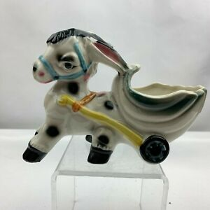 Vintage-Donkey-Horse-Pulling-Cart-Planter-Ocean-Conch-Shell-Cart-Unknown-Maker