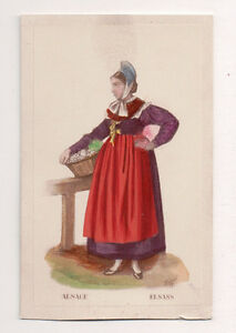 Vintage-CDV-Handpainted-Lady-of-Alsace-FranceTraditional-National-Costume