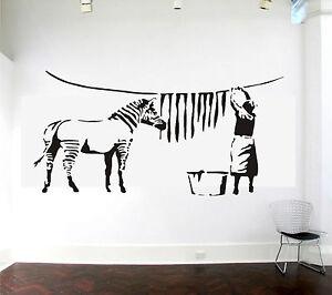 Image Is Loading Banksy Zebra Stripes Laundry Washing Wall Art Sticker