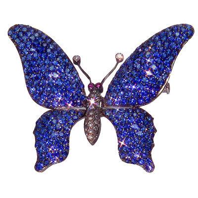 18k Sapphire Diamond Tremblant Butterfly Gold Pin Brooch
