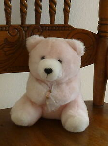"""VTG 1990 THE SUMMIT COLLECTION Pink BEAR with Posy 7"""" Plush TEDDY Machine Wash"""