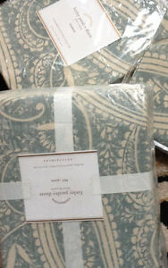 Pottery Barn Finley Paisley Duvet Cover Set Porcelain Blue