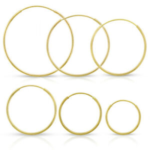 14k-Yellow-Gold-Womens-Endless-Tube-Hoop-Earrings-1mm-Thick-10mm-20mm