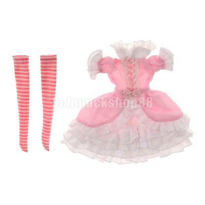 Fashion Pink Puff Sleeves Dress Party Clothes Set for 1/6 MSD BJD DOD Doll