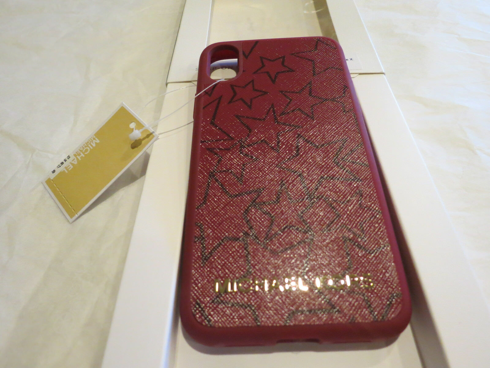 Michael Kors Iphone X 10 Snap On Case Mulberry Plum Leather Stars 68 Auth Nwt