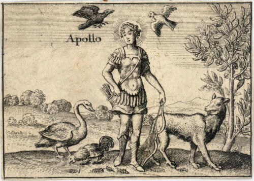 Vintage Style Satin Tapestry The Greek Gods Apollo by Wenceslas Hollar 1657c