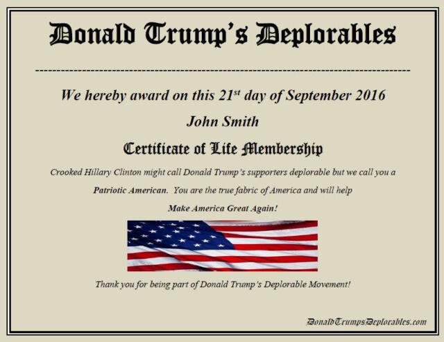Donald Trump Deplorables Certificate  ~2nd Amendment  ~ We the People ~ MAGA