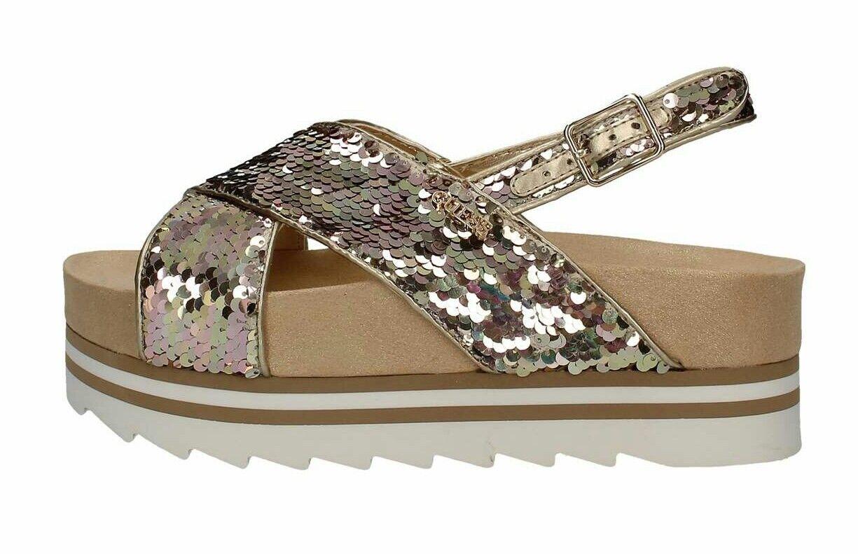 GUESS. Sandalo in oro con paillettes. Numero 38.