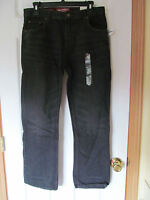 Boy's Arizona Jean Co. Straight Fit Black Jeans W/distress Marks Sz 16 Husky