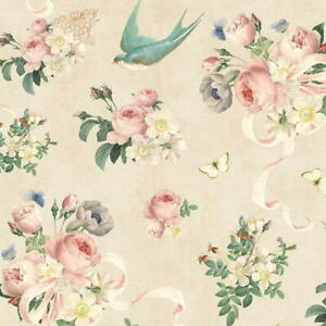 Cottage-Shabby-Chic-Riley-Blake-Rose-amp-Violet-039-s-Garden-Main-Parchment-Fabric-BTY