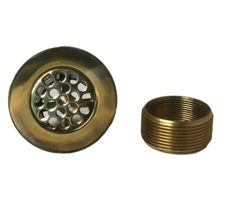 Polished Brass Bathtub Drain Snap In Grid Style with Brass Bushing