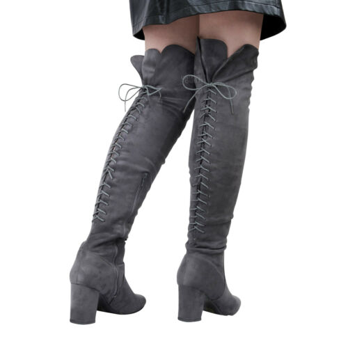 Womens Ladies Back Lace Up Over The Knee Thigh Mid Block High Heel Boots Shoes