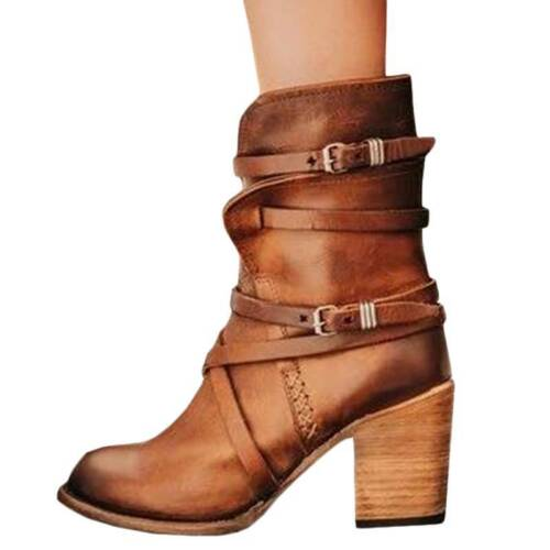 Vintage Damen Stiefeletten Boot High Blockabsatz Schnalle Schuh kniehohe stiefel