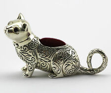 COLLECTABLE VICTORIAN STYLE CAT PIN CUSHION RUBY EYES 925 STERLING SILVER