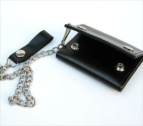 RFID Blocking Men/'s Genuine Leather Biker/'s Long Metal Chain Wallet Trucker