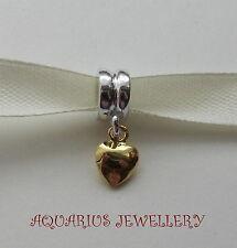 CUORE Sterling silver+gold riempimento cordone STAFFA Bracciale con Charm Perline