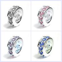STR Silver Round Rondelle CZ Crystal Birthstone Bead f/ European Charm Bracelet