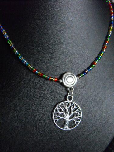 Glass beaded collar choker necklace RAINBOW blue black unisex pentacle fairy