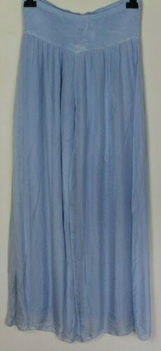 Italien Lagenlook côté fente Design Jersey Stretch Taille soie Palazzo Pantalon