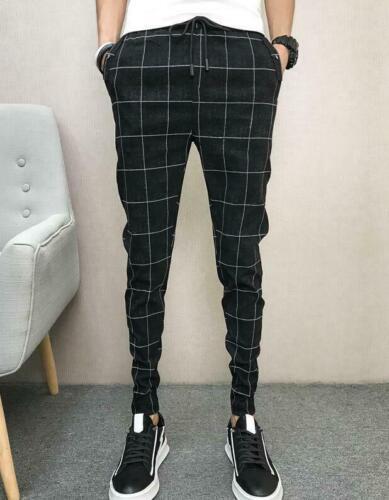 Korean Mens Jogger Pants Hip Hop Plaid Slacks Casual Trousers Tapered Slim MOON