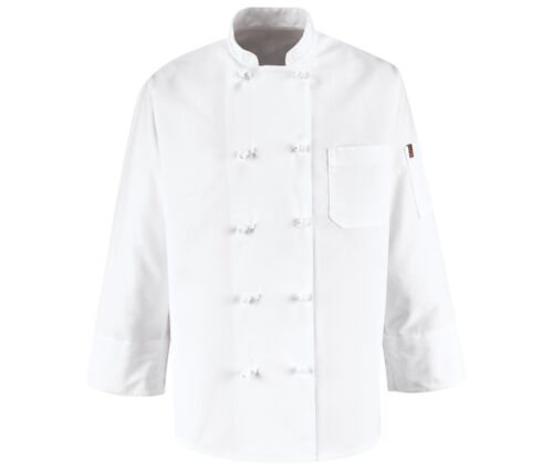 Red Kap 0421WH Eight Knot Button Chef Coat