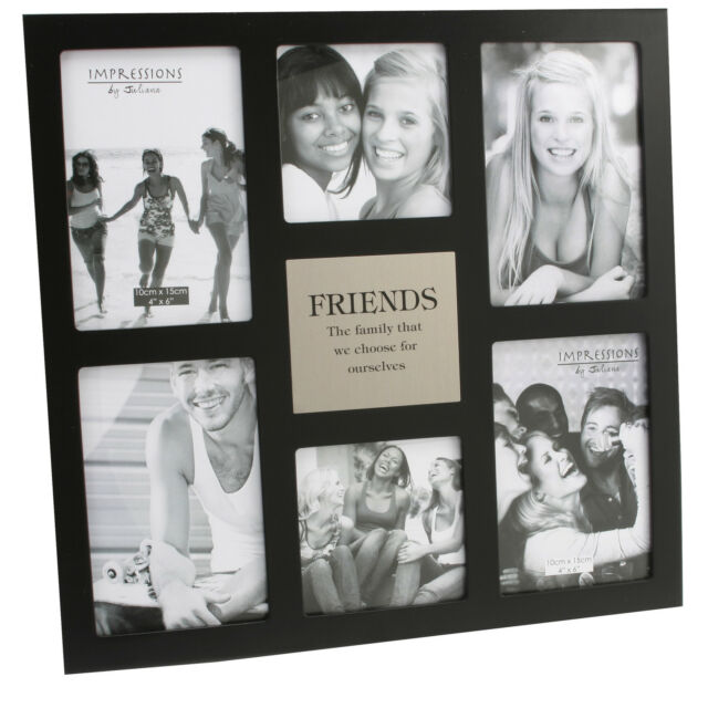 Friends Large Black Juliana MDF Collage Multi Photo Frame 6 x Pictures Gift Idea