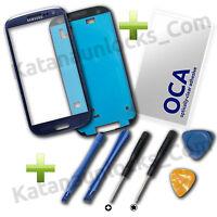 Komplett Set Bildschirm Glas Reparaturen für Samsung Galaxy S3 SIII i9300 Blau