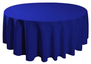 "90"" Round Table Cover Seamless Wedding Banquet Tablecloth - ROYAL BLUE"
