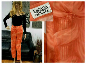 ESCADA-SPORT-ORANGE-PATTERNED-STRAIGHT-JEANS-PANTS-8-10