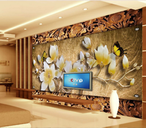 3D golden Carved Flowers 88 Wallpaper Mural Paper Wall Print Wallpaper Murals UK