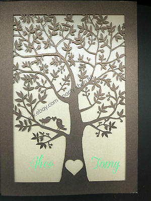 25 sets Laser Cut Tree and love birds  Wedding Invitation Cards,invite+envelope