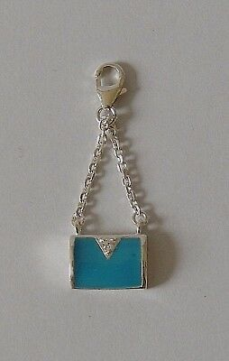 925 Sterling Silver Blue Mother Of Pearl Bag Charm Clothing, Handbags & Shoes