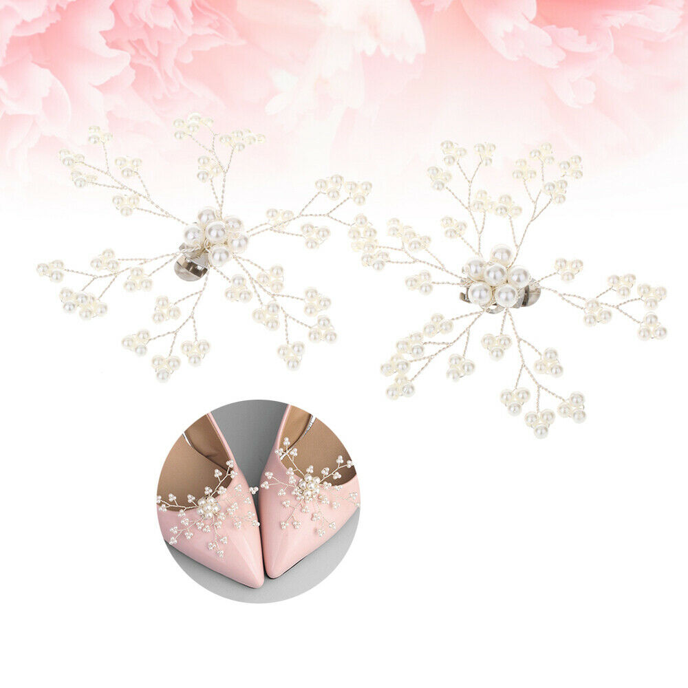 1 Pair Shoe Buckles Pearl Fashion White DIY Alloy Shoe Clips for Bride