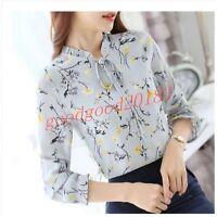 New Fashion Women Floral Pattern Long Sleeve Chiffon Summer TeeTops Shirt Blouse