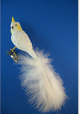 Inge Glass Cockatoo parrot bird blown Glass Christmas Ornament Germany 005137