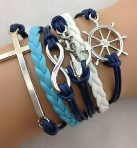 NEW-Hot-Retro-Infinity-Cross-Wheel-Anchor-Leather-Charm-Bracelet-plated-Silver