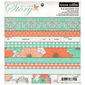 """Teresa Collins #YS1010  """"Tell Your Story""""  6x6 Designer Paper Pad  24  Sheets"""