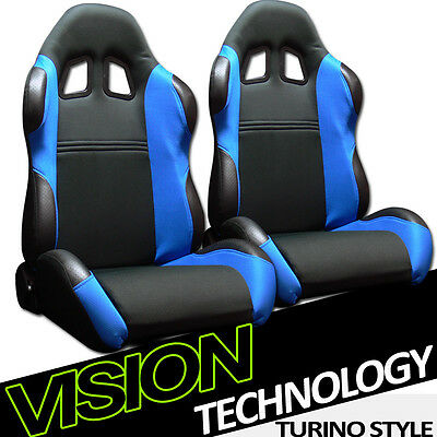 TS Sport Blk/Blue Cloth Fabric Reclinable Racing Bucket Seats w/Sliders Pair V23