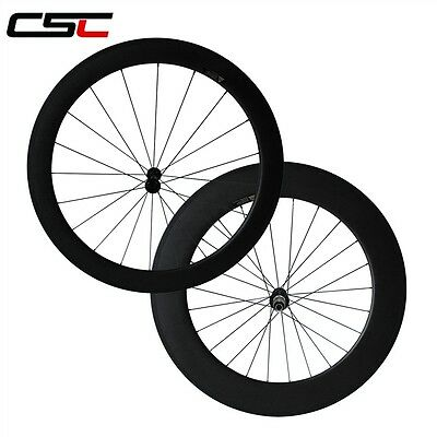 CSC  700C 60mm clincher front and  88mm clincher rear carbon bike wheels