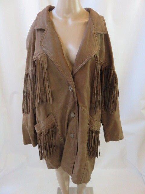 Pelle New York Milano Brown Fringe Leather Trim Sued Coat Size L